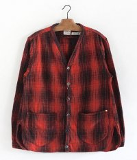 ANACHRONORM Ombre Plaid Shirt-Cardigan [RED��BLACK]