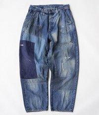 ANACHRONORM Damaged Nep Denim Wide Tuck Trousers [INDIGO]