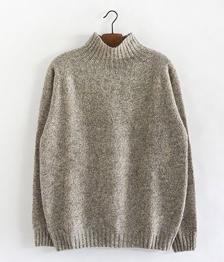 HARLEY OF SCOTLAND HIGH NECK SWEATER [MUSHROOM]