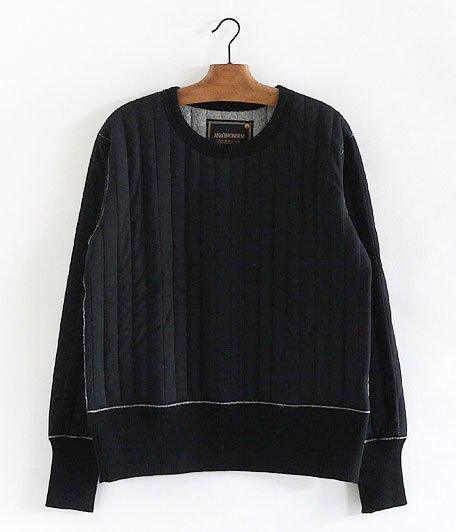 ANACHRONORM Quilted L/S Crew Neck [BLACK]