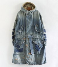 ANACHRONORM Damaged Denim Hooded Coat [INDIGO]