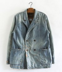 ANACHRONORM Damaged Denim Lapel Jacket [INDIGO]