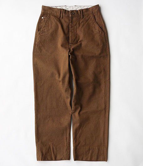 ANACHRONORM Cotton Herringbone Wide Trousers [HAVANA BROWN]