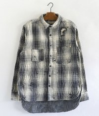 ANACHRONORM Damaged Ombre Plaid Work Shirt [IVORY×NAVY]