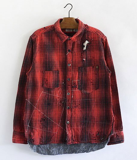 ANACHRONORM Damaged Ombre Plaid Work Shirt [RED×BLACK]
