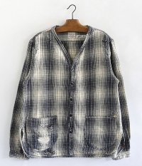 ANACHRONORM Damaged Ombre Plaid Shirt-Cardigan [IVORY×NAVY]