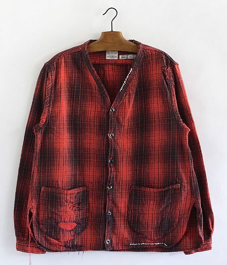ANACHRONORM Damaged Ombre Plaid Shirt-Cardigan [RED×BLACK]