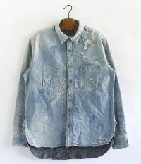 ANACHRONORM Damaged Denim Work Shirt [INDIGO]