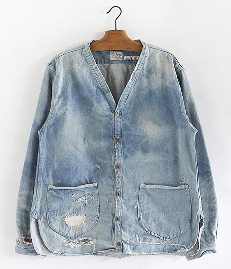 ANACHRONORM Damaged Denim Shirt-Cardigan [INDIGO]