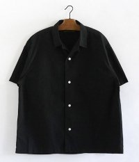 HURRAY HURRAY Open Collar Shirt [BLACK]