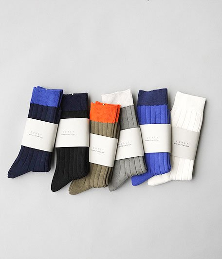 CURLY  BRIGHT SOX  [WHITE / GRAY / BLUE / OLIVE / NAVY / BLACK]