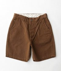 ANACHRONORM Cotton Herringbone Wide Trouser Shorts [HAVANA BROWN]