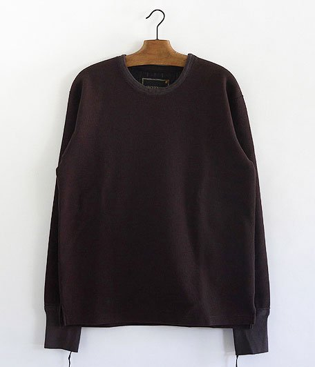 ANACHRONORM Waffle Face Crewneck Under-Shirt [Dk.BROWN]