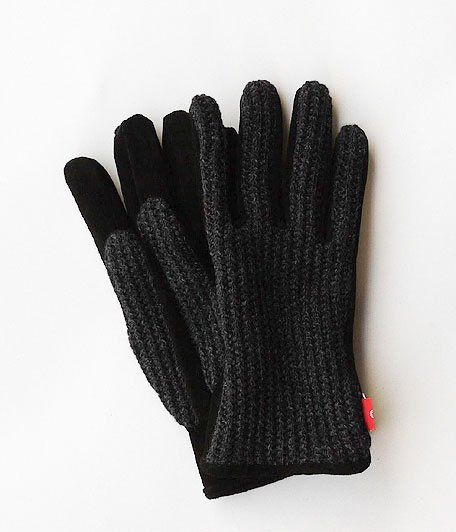 ANACHRONORM Suede Knit Mix Glove [CHARCOAL]