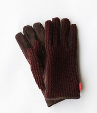 ANACHRONORM Suede Knit Mix Glove [WINE]