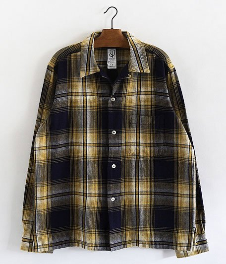CORONA FRENCH CAFFE SHIRT L/S [OMBRE CHECK NEL YELLOW × INDIGO]