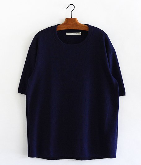 CURLY Cloudy HS Crew Tee [NAVY BLUE]