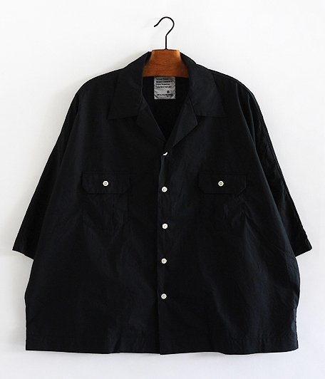H.UNIT STORE LABEL Dolman Open Collar Short Sleeve Shirt [BLACK]