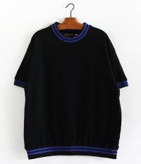 ANACHRONORM Line Neck S/S Sweat [BLACK ×BLUE]