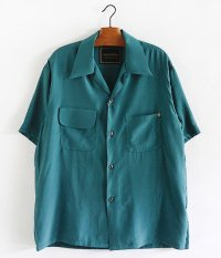 ANACHRONORM Rayon Open Collar Shirt [BLUE GREEN]