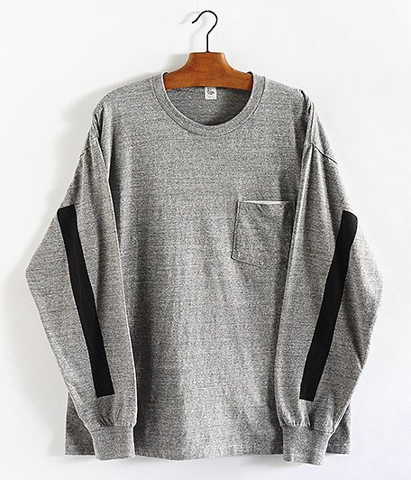 KAPTAIN SUNSHINE West Coast Long Sleeve Tee [FEATHER GRAY × BLACK LINE]