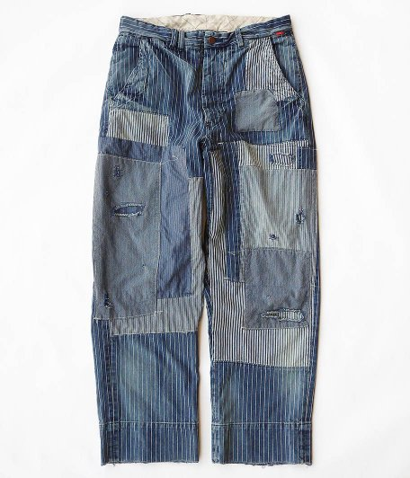 ANACHRONORM Hickory Strip Trousers [INDIGO / PATCHWORK REMAKE WASH]