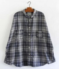 H.UNIT STORE LABEL Flannel Check Dolman Work Long Sleeves Shirt [NAVY]