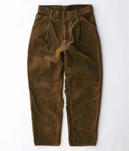 H.UNIT STORE LABEL 8w Corduroy Tuck Wide Tapered 4p [BROWN]