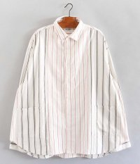H.UNIT STORE LABEL Stripe Crazy Wide Long Sleeves Shirt [OFF WHITE]