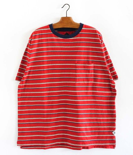 CORONA MULTI STRIPE POCKET TEE [RED]