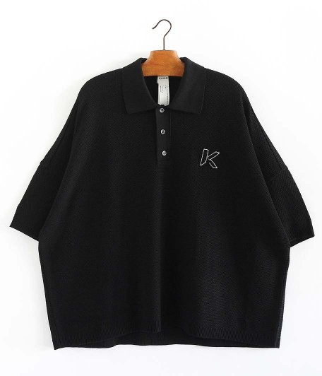 KAIKO LARGER KNIT POLO SHIRT [BLACK]