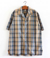 KAPTAIN SUNSHINE Open Collar S/S Shirt [BEIGE PLAID]