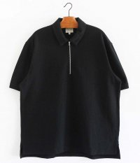 CURLY BRIGHT SS ZIP POLO [BLACK]