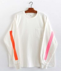 KAPTAIN SUNSHINE West Coast L/S Tee [WHITE ×PINK & ORANGE LINE]