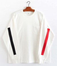 KAPTAIN SUNSHINE West Coast L/S Tee [WHITE × RED & BLACK LINE]