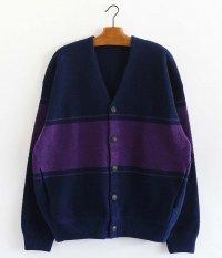 crepuscule Moss Stitch Border Cardigan [D.NAVY×PURPLE]