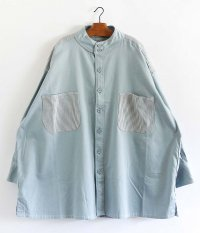 HOMELESS TAILOR STAND COLLAR SHIRT [SAX]