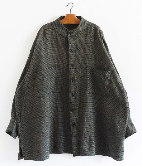 HOMELESS TAILOR STAND COLLAR SHIRT [MIX GREEN]