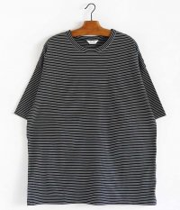 WELLDER Wide Fit T-Shirts [BLACK × WHITE LINE]