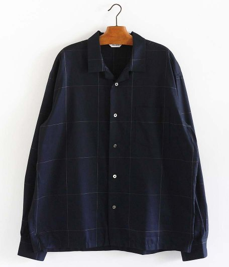 WELLDER Back Tack Open Collar Shirt [NAVY]