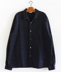 WELLDER Back Tack Open Collar Shirt [NAVY]