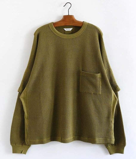 WELLDER Dolman Layered Sleeve Crewneck [LIGHT KHAKI]