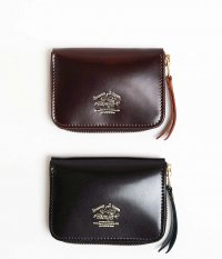 THE SUPERIOR LABOR Cordovan Zip Small Wallet [BURGUNDY / BLACK]