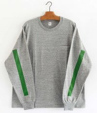 KAPTAIN SUNSHINE West Coast L/S Tee [FEATHER GRAY × GREEN / WHITE SQUARE LINE]