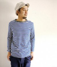 JIGSAW MEDIUM WEIGHT BORDER RINGER T-SHIRT NAVY/OFF WHITE