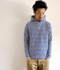 JIGSAW MEDIUM WEIGHT BORDER PULL-OVER HOODY NAVY/OFF WHITE