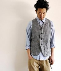 ANACHRONORM Clothing Indigo Plaid Work Vest/Houndstooth Check