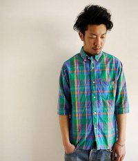 ANACHRONORM Clothing Madras Regular Fit 1/2 Sleeve B.D Shirt GREEN PL