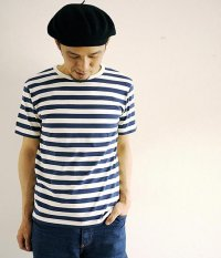 JIGSAW BORDER S/S CREW NECK T-SHIRTS NAVY/OFF WHITE