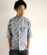 ANACHRONORM Clothing Bandana Regular Fit 1/2 Sleeve B.D Shirt NAVY